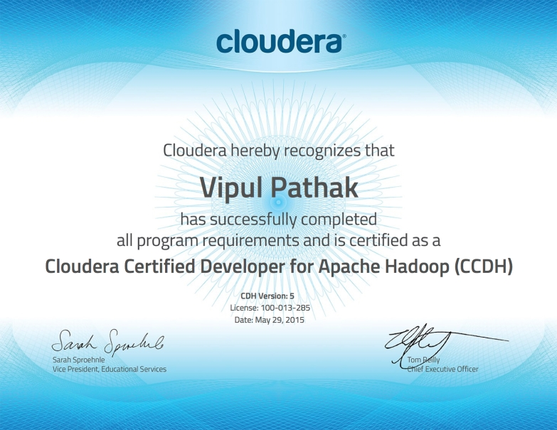 Cloudera Certified Developer For Apache Hadoop