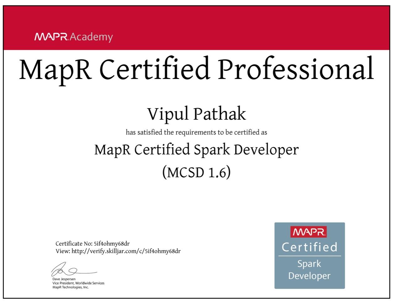 Mapr Certified Spark Developer Vipul Pathak